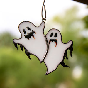 Stained glass spooky ghosts window hanging for Halloween