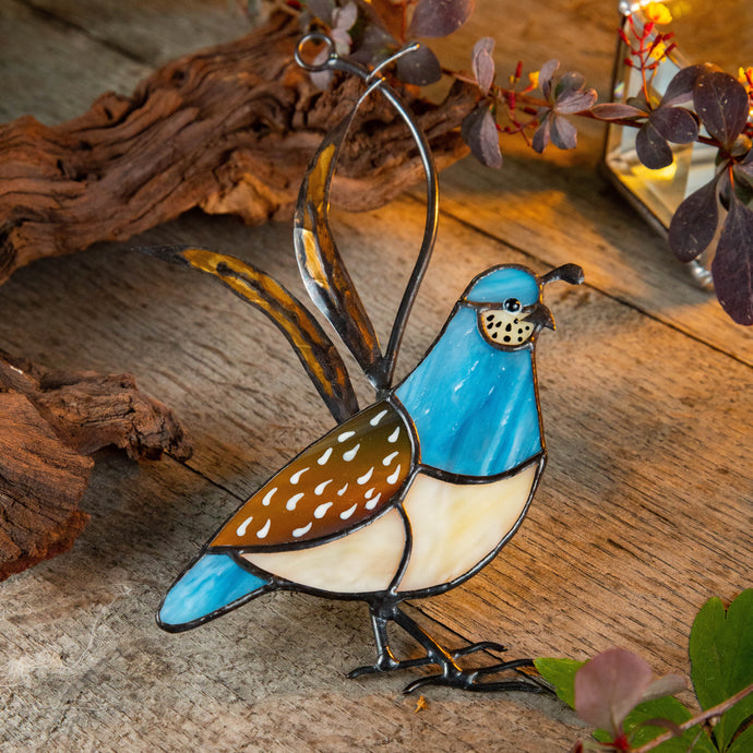 California female quail made of stained glass suncatcher