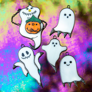 A set of 5 amusing stained glass ghosts suncatchers