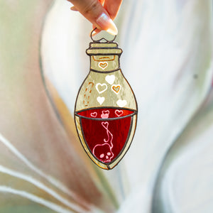 Stained glass bottle with blood suncatcher for Halloween