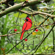 Load image into Gallery viewer, Personalized stained glass redbird sitting on a wire heart window hanging