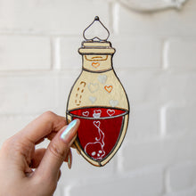 Load image into Gallery viewer, Bottle with blood suncatcher of stained glass for Halloween decor