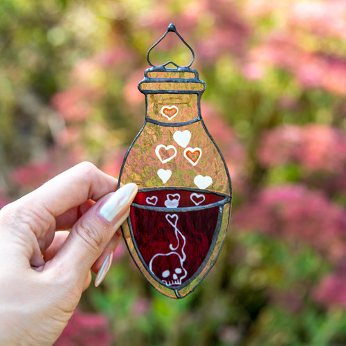 Stained glass bottle with blood window hanging for Halloween spooky decor