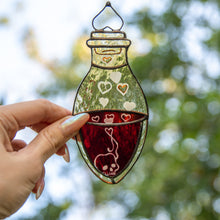 Load image into Gallery viewer, Creepy stained glass bottle with blood Halloween suncatcher