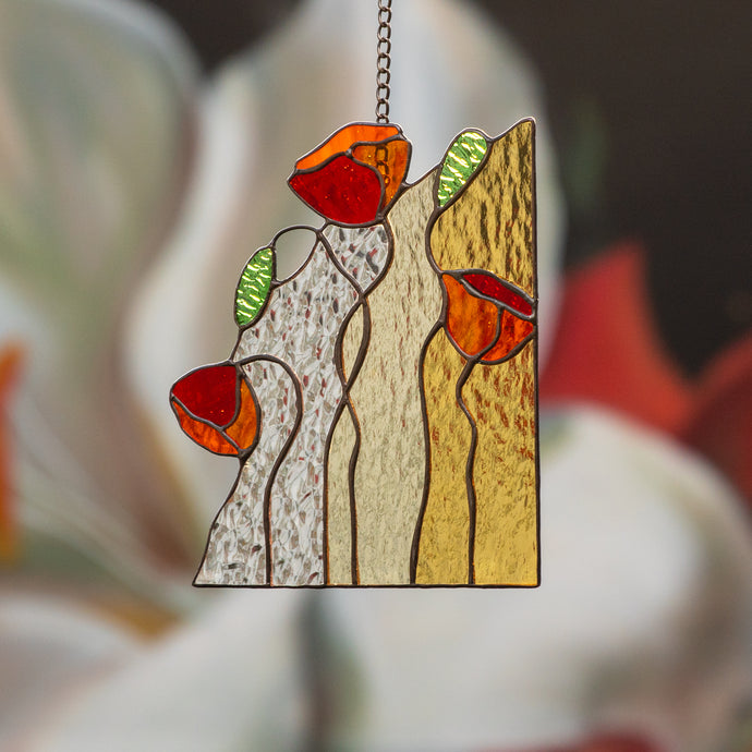 Stained glass panel with three red poppies for home decor