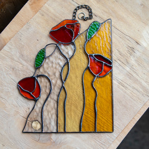 Stained glass poppies window hanging for home decor