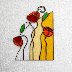 Three poppies panel of stained glass for window decor