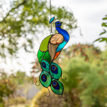 Load image into Gallery viewer, Stained glass suncatcher of a bright peacock