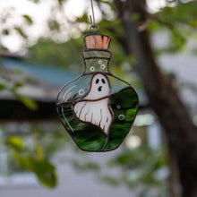 Load image into Gallery viewer, Stained glass ghost in the bottle window hanging for ghastly Halloween decor