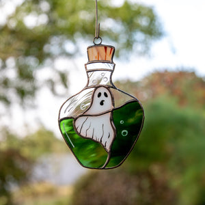 Halloween stained glass ghost in the bottle suncatcher