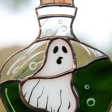 Load image into Gallery viewer, Zoomed stained glass ghost in the bottle suncatcher