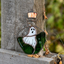 Load image into Gallery viewer, Stained glass ghost in the bottle suncatcher for spooky Halloween decor