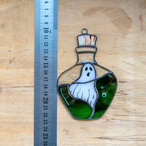 Stained glass ghost in the bottle suncatcher for Halloween home decor