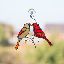 Load image into Gallery viewer, Stained glass pair of cardinals kissing each other suncatcher