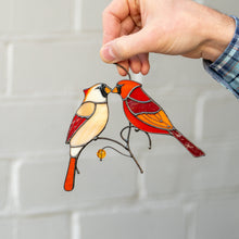 Load image into Gallery viewer, Lovely stained glass cardinals kissing suncatcher for window