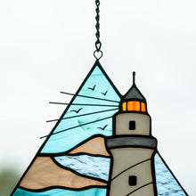 Load image into Gallery viewer, Zoomed stained glass lighthouse