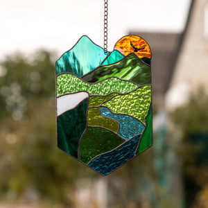 Landscape panel of stained glass for window decor