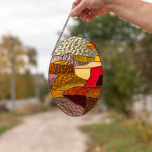 Load image into Gallery viewer, Arizona stained glass oval window hanging panel