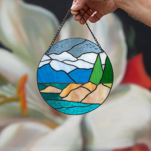 Stained glass panel depicting Lake Tahoe  for window