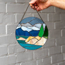 Load image into Gallery viewer, Stained glass panel depicting Lake Tahoe and its surrounding