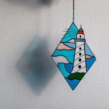Load image into Gallery viewer, Stained glass lighthouse window hanging for home decor