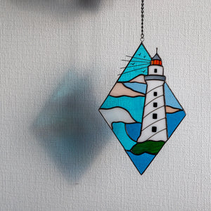 Stained glass lighthouse window hanging for home decor