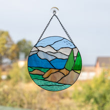 Load image into Gallery viewer, Lake Tahoe round panel of stained glass