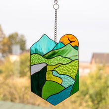 Load image into Gallery viewer, The highlands with the setting sun stained glass window hanging panel