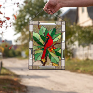 Stained glass cardinal with berries panel for home decor