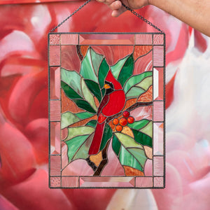 Stained glass cardinal with leaves and berries window hanging panel