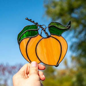 Stained glass peaches suncatcher for kitchen window decor
