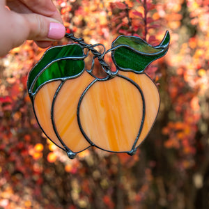 Bright stained glass peaches window hanging