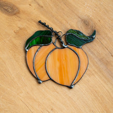 Load image into Gallery viewer, Peaches suncatcher of stained glass for kitchen