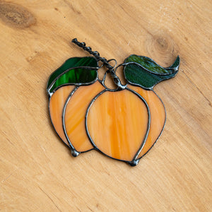 Peaches suncatcher of stained glass for kitchen