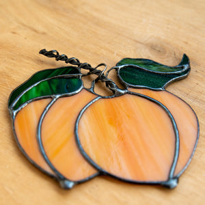 Zoomed stained glass peaches suncatcher