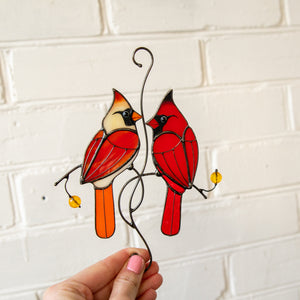 Cardinals couple window hanging of stained glass