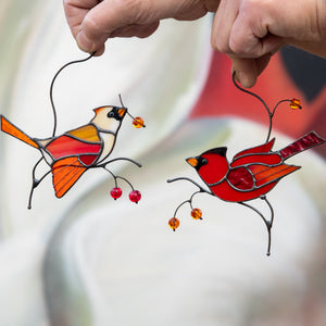 Female and male cardinals suncatchers of stained glass for window decor