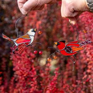 Stained glass male and female cardinals window hangings for window decor