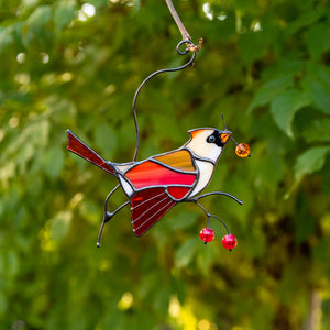 Colourful female cardinal suncatcher of stained glass for home decor