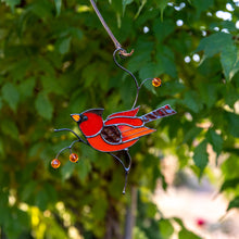 Load image into Gallery viewer, Male red winter bird suncatcher made of stained glass