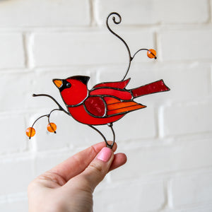 Male red winter bird suncatcher of stained glass for home decor