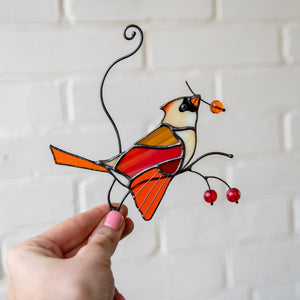 Colourful stained glass female cardinal suncatcher for window decor