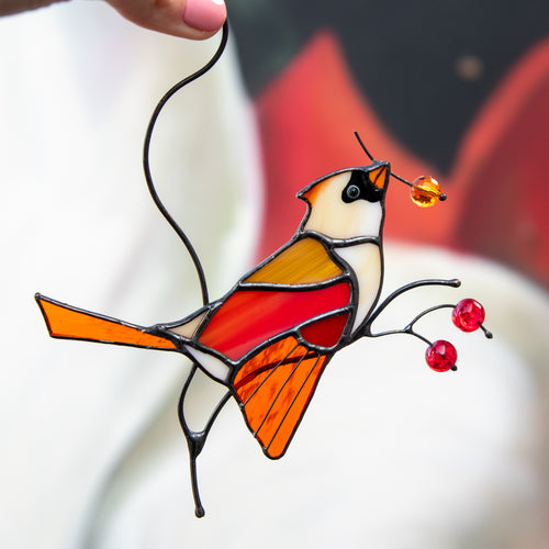Female stained glass cardinal sitting on the branch with berries suncatcher for window