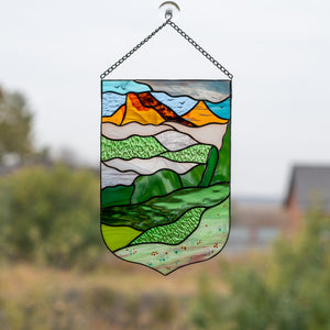 Stained glass panel depicting Estes Park for home decor