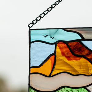Zoomed stained glass Estes Park panel