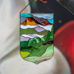 Estes Park window hanging panel of stained glass
