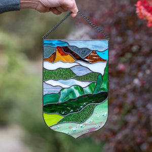 Stained glass landscape of Estes Park panel