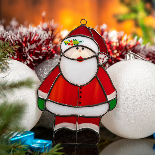 Stained glass Santa Claus suncatcher for Christmas window decor