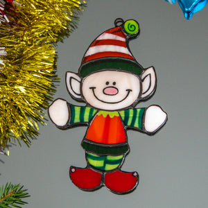 Santa's Elf window hanging of stained glass
