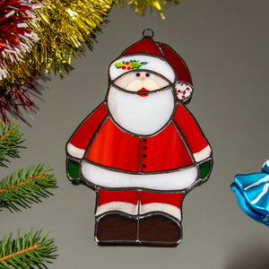 Marvellous stained glass Santa Claus window hanging